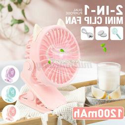 3 Speeds USB Rechargeable Mini Cooling Fan Clip On Desk Baby
