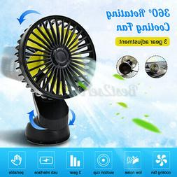360 Rotating 3 Speed USB Cooling Fan Car Suction Cup 12V Fan