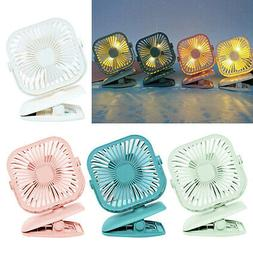 360° USB Small Fan Rechargeable Clip Fan 2 Speed with LED L