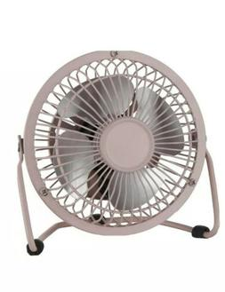 Mainstays 4-Inch Pink Metal USB Powered Fan with Whisper Qui