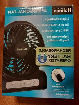 """Holmes 4"""" Personal Fan Rechargeable Battery Operated w/Inclu"""
