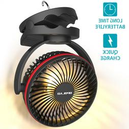 5000mAh Camping Lantern Clip On Personal Fan with Hanging Ho