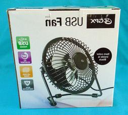 """Black GPX 4"""" Adjustable Tabletop Fan, powered by USB cord to"""