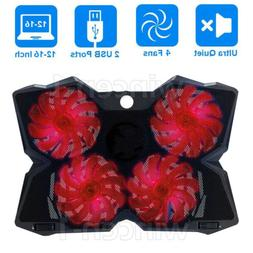 Game LED 4-Fan Advanced Laptop Notebook Cooler Cooling Pad S