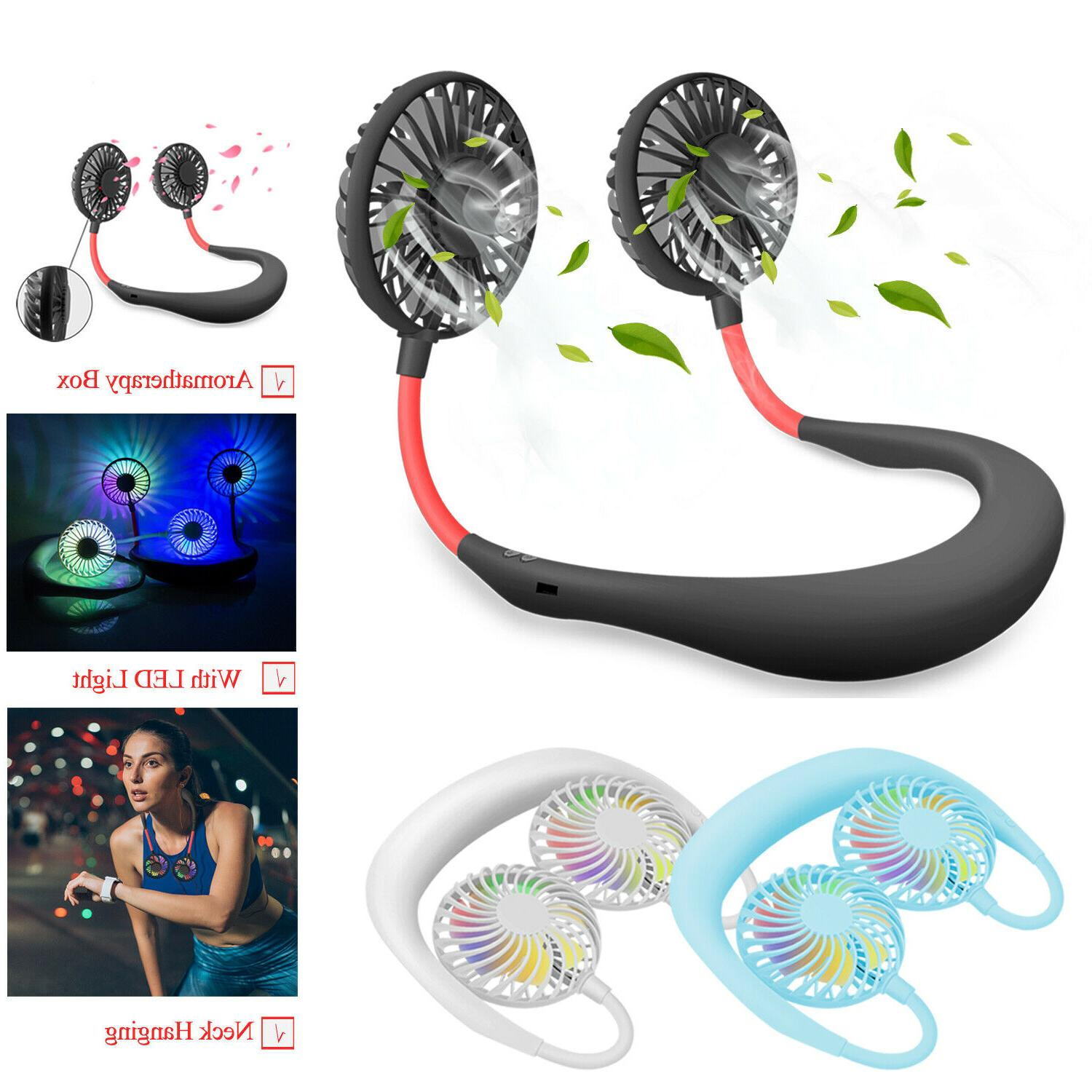 led portable usb rechargeable neck hanging fan
