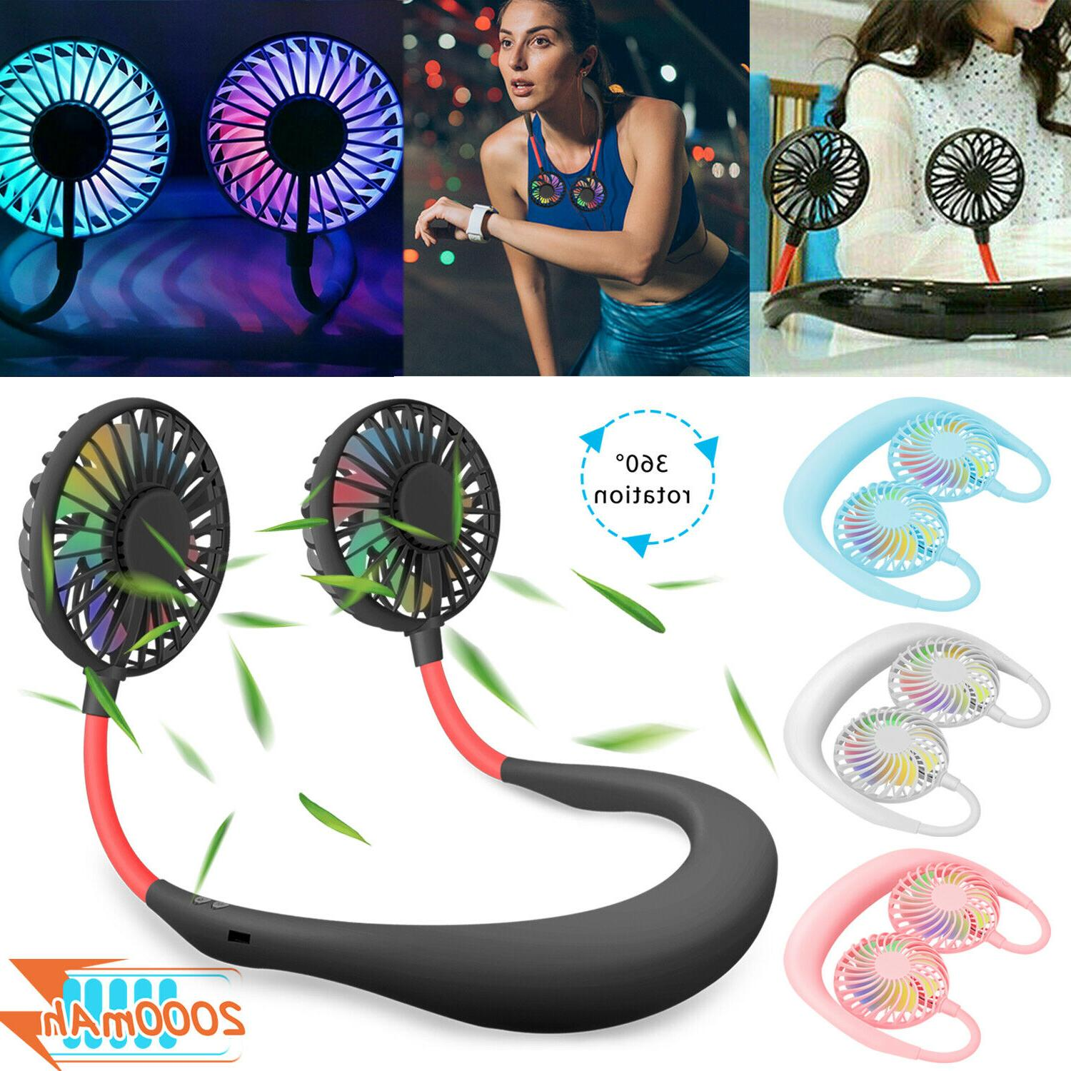 portable rechargeable neckband neck hanging dual cooling
