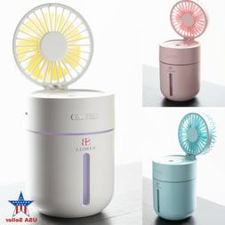Mini Humidifier with Fan Cordless USB Chargeable for Bedroom