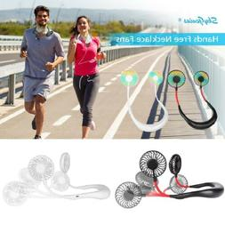 Portable Hanging Necklace Fan USB Rechargeable Neckband Spor