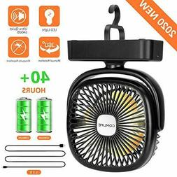 Portable LED camping lantern with battery-powered mini fan +