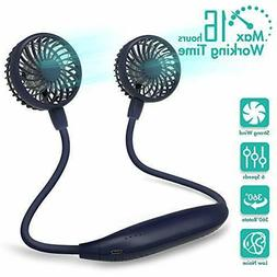 Portable Neck Fan, 2600mAh Battery Operated Ultra Quiet Hand