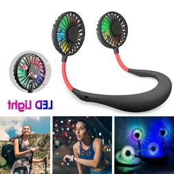 Portable USB Rechargeable LED Lazy Fan Hanging Neck Mini Coo