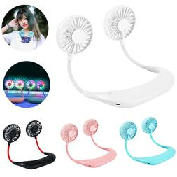 Rechargeable Neckband Neck Lazy Fan Hanging Dual Cooling Min
