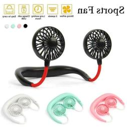Small Neck Band Personal Portable Mini Air Fan With Dual Fan