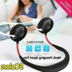 USB Rechargeable Neckband Sport Fan Neck Hanging Dual Coolin